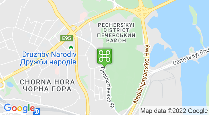 Map showing location of Gryshko National Botanical Garden