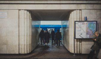 Entrance to platform of Arsenalna Metro Station in Kiev, Ukraine