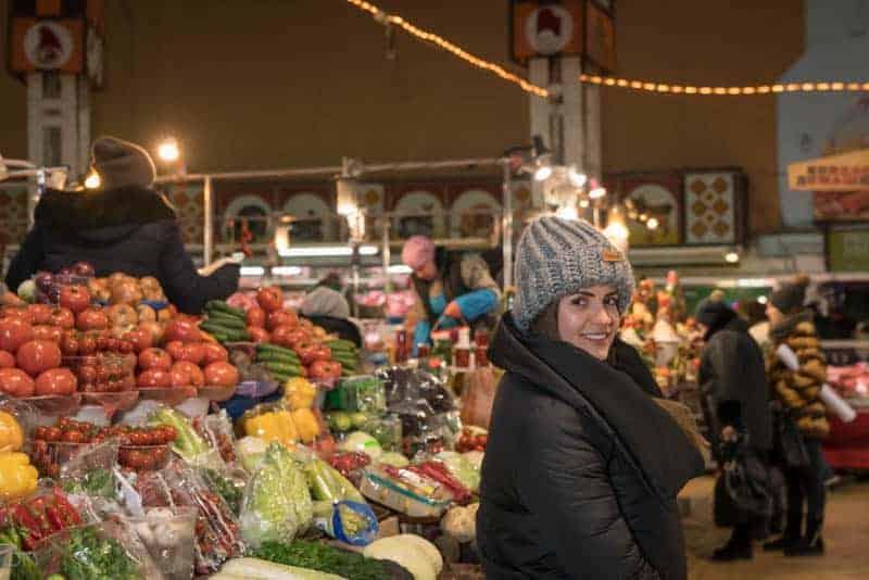 Fruit and vegetables stall at Besarabsky Market in Kiev, Ukraine