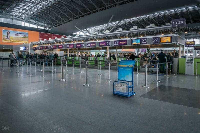 Check-in desks at Terminal D Boryspil International Airport, Kiev