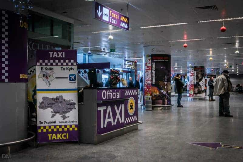 Official taxi desk in Arrivals at Boryspil International Airport in Kiev, Ukraine