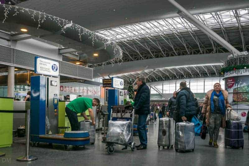 Baggage wrapping service at Terminal D of Boryspil International Airport in Kiev,Ukraine