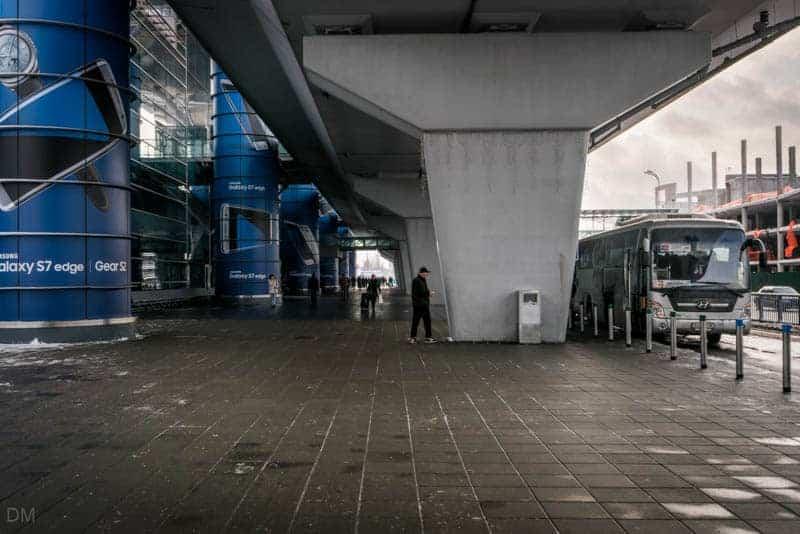Sky Bus outside Terminal D Arrivals at Boryspil International Airport in Kiev, Ukraine