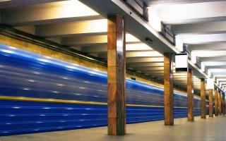 Train passing through a Metro station in Kiev