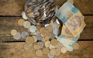 Ukrainian currency, selection of bank notes and coins