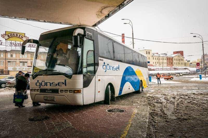 Gunsel bus from Kiev to Kharkiv at Kiev Central Bus Station