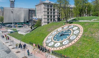 Floral clock near Independence Square, Kiev, Ukraine