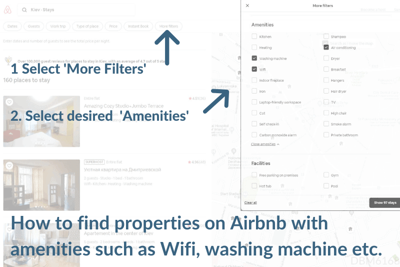 How to find Airbnb properties with Wifi, washing machine etc.